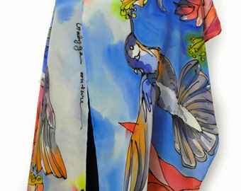Hand painted silk scarf/Birds in blue/Painting luxury silk/Woman accessory/Beautiful gift for woman/Painting silk /Birds in blue/H0121