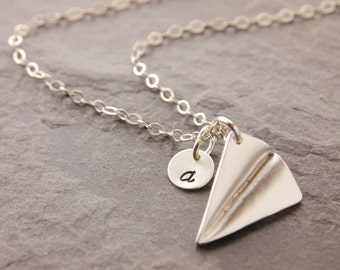 Silver Airplane Necklace, origami necklace, origami plane, paper airplane, silver plane, 3D charm, paper plane, sterling, N8