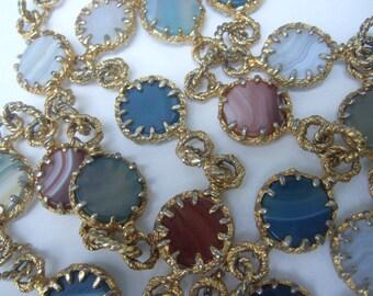 Glass Stone Gilt Metal Vintage Necklace c 1970s
