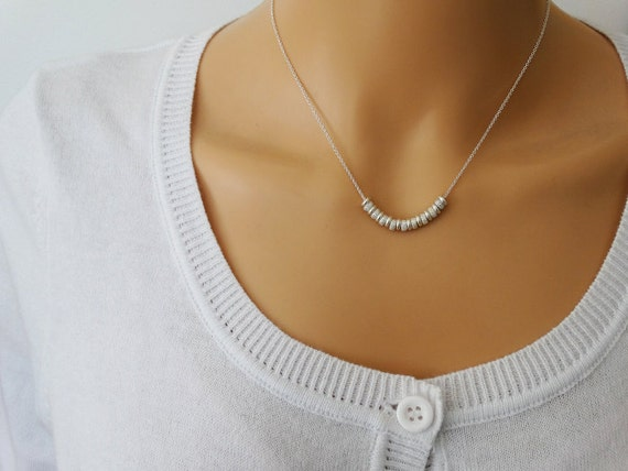 Tiny Silver Beads Necklace - Sterling Silver