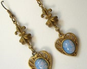 CLEARANCE Victorian Revival Drop Vintage Earrings with Rich Opal Art Glass Cabs, and Fleur de Lis Atop.