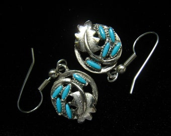 CLEARANCE  Silver Tone & Faux Turquoise Vintage Drop Earrings.  Southwestern Styling. Stones set into Leaf Design Drops.