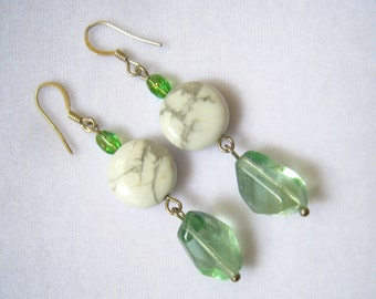 CLEARANCE Long Artisan Vintage Drop Earrings. White & Gray Stones, Green Stones, Green AB Crystals