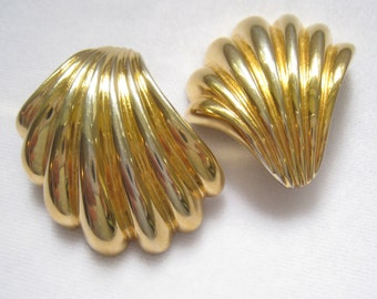 CLEARANCE Large GIVENCHY Signed 1980's Vintage Shell Shape Earrings. Bold. Reflective. Classic. Clip BacksSigned.
