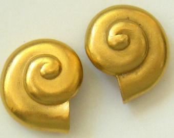 SALE CAROLEE Modernist Vintage Earrings Nautilus Design Matte Gold Finished.  Stud Backs.