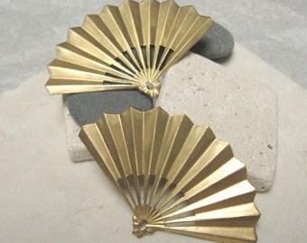 """Vintage 2 7/8""""  Wide Brass Fan Findings.  4 pcs."""