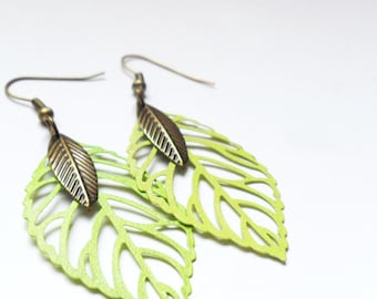 Neon Green Leaf and Feather Earrings, Boho Tween Gift