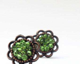 green earrings, rhinestone post earrings, bridesmaid gift, bridal party favor, faux druzy earrings, modern earrings, classic jewelry