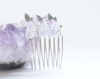 Bridal Hair Comb with silver leaves and purple beads