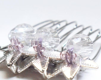 Bridal Hair Comb, Silver Leaves