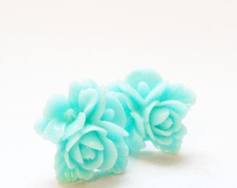 Teal Flower Earrings, Robin's Egg Blue Posts, Resin Blossom Earrings