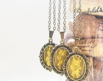 Yellow Bridesmaid Necklace, Lace Flower Pendant, Bridal Party Gift