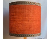 Large 70s Style Orange Hessian LampShade