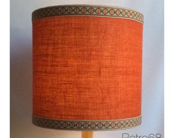 Large 70s Style Orange Hessian LampShade