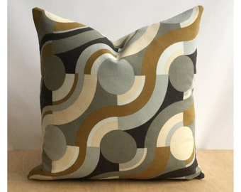 "Vintage 60s Peter Perritt Undulation Fabric 16"" x 16"" Cushion Cover"
