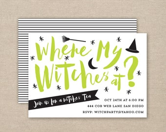 witch party invitation - printable