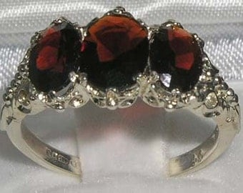 Large 9K White Gold Natural Garnet 3 Stone English Victorian Style Carved Ring, Prong Setting Trilogy Ring -Made in England-Customizable