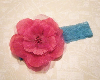 Baby headband, stretchy, big flower,