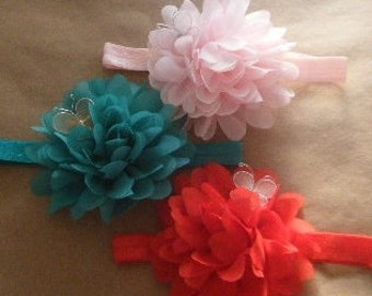 Flower baby headband with butterfly accent