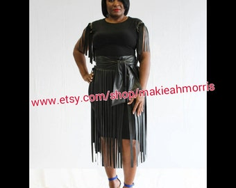 Black fringe skirt | Etsy