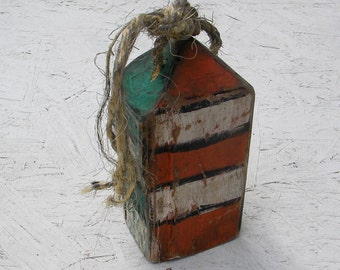 Weathered Buoy Turquoise and Orange Paint Nautical Beach Decor Reclaimed Rustic Wood Buoy Decoy