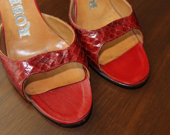 Vintage Red Snakeskin Leather Shoes Women's Accessories Mad Men Fashions Rockabilly Red Heels Hipsters Gift Ideas  Her Italian Leather Shoes