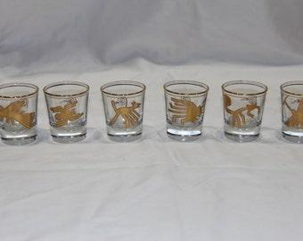Gold laminated Nazca lines designs peruvian shot glasses