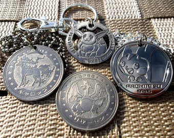 VINTAGE 151+ JAPANESE Upcycled-Made Using Metal Battle Coins! Mew Pikachu Charizard Charm Keychain Necklace --Ships in 1 Day--