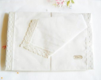 Set of 2 pieces white German Vintage Cotton Lace Handkerchiefs new and unused