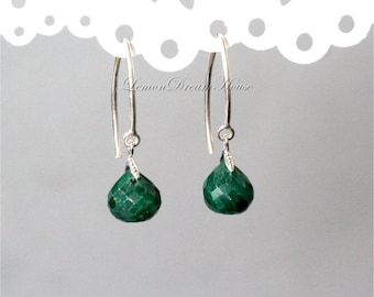May Birthstone. Gemstone Earrings, Emerald Faceted Onion Briolettes, Sterling Silver Marquise Earwires. Dainty, Everyday. Gift. E249.
