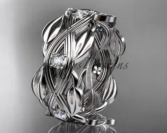 Platinum diamond floral wedding ring, engagement ring ADLR259