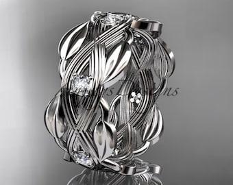 14kt  white gold diamond floral wedding ring, engagement ring ADLR259