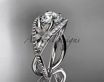 14kt white gold diamond floral wedding ring, engagement ring ADLR88