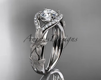 14kt white gold diamond leaf and vine wedding ring, engagement ring ADLR85