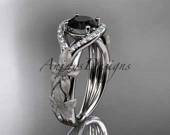 14kt white gold diamond leaf and vine wedding ring, engagement ring with Black Diamond center stone ADLR85
