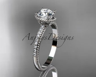 """Platinum diamond unique engagement ring, wedding ring with """"Forever One"""" Moissanite center stone ADER86"""
