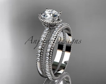 14kt white gold diamond unique engagement set, wedding ring ADER86S