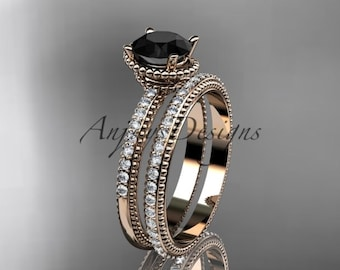 14kt rose gold diamond unique engagement set, wedding ring with Black Diamond center stone ADER86S