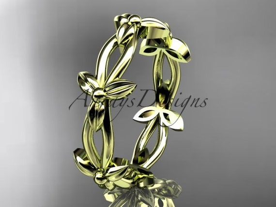 14k yellow gold leaf and vine wedding ring, engagement ring ADLR19C