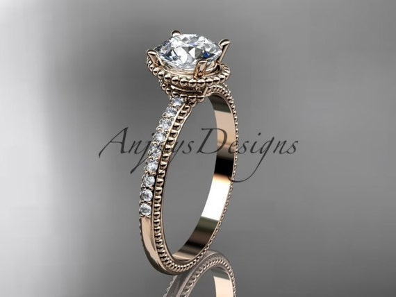 14kt rose gold diamond unique engagement ring, wedding ring ADER86