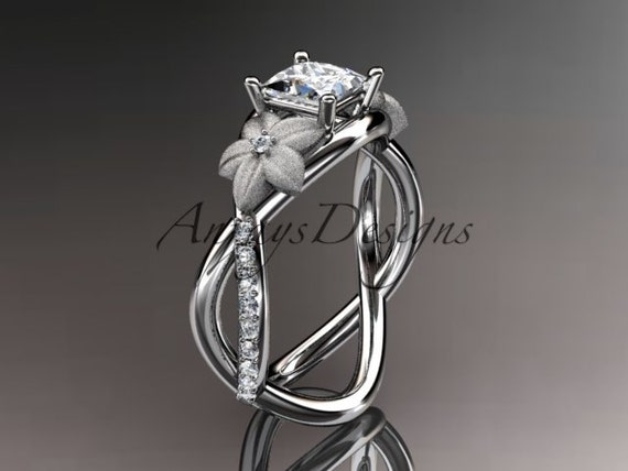 """14kt white gold diamond floral, leaf and vine , engagement ring, with a """"Forever One"""" Moissanite princess cut center stone ADLR90PR"""