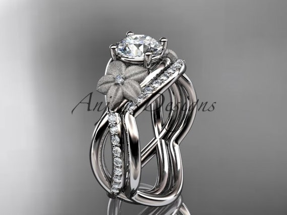 "14k white gold diamond leaf and vine wedding ring, engagement set with a ""Forever One"" Moissanite center stone ADLR90S"