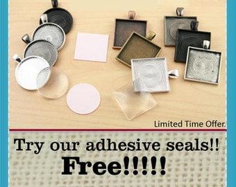 10 FREE SEALS-Key Ring Kit -Jewelry Craft Kit-DIY 10 Optional Key Rings, 25mm Glass Craft Kit. Free Sticky Seals. 25mm Key Ring Option
