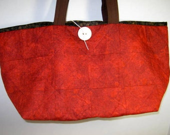 Small Quilted Craft Project Tote in Red,  Library Book Bag, Market Tote Bag