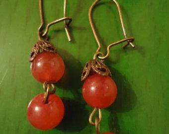 Boho Gypsy Red Robin Small Drop Dangle Earrings