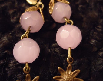 Boho Vintage Inspired Lilac Sunshine in Bloom Earrings One Of A Kind