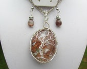 DREAMTIME - Phantom Quartz with Wire Wrapped Tree of Life with Matching Earrings