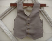 BOYS VEST-Taupe Vest for boys, Taupe Boys vintage style Vest, Boys ring bearer vest  (sz. available 1-10 year old)