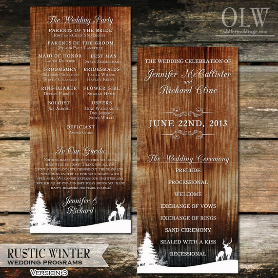 Rustic Winter Deer Woodland Wedding Program