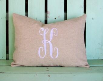 Monogram 12x16 lumbar tan natural pillow cover-nursery pillow-college gift-accent pillow- decorative pillow cover-throw pillow